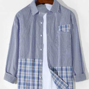 Mens Striped Plaid Patchwork Cotton Casual Long Sleeve Shirts With Pocket discountshub