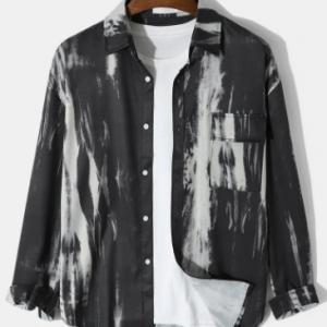 Mens Tie Dye Lapel Button Street Long Sleeve Shirts With Pocket discountshub