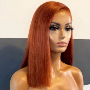 Middle Part 12-16inch Short Cut Bob Ginger Orange Straight Synthetic Lace Front Wigs for Black Women Heat Fiber Hair Cosplay discountshub
