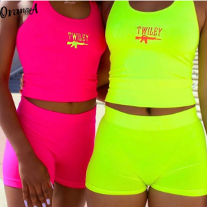 OrangeA neon color letter embroidery women tracksuit matching set sleeveless tank top+biker shorts sporty casual fitness outfits discountshub