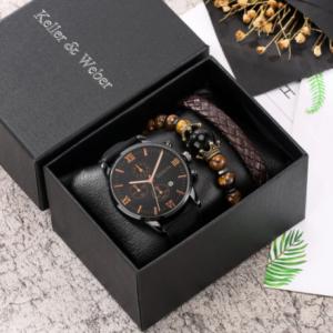 Personality Men Watch Bracelet Set Black Quartz Watches Leather Strap Pin Buckle 2 Pieces Brown Weave Bracelet Best Gift for Son discountshub