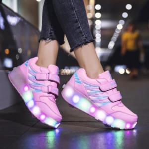 Roller Skates Tow Wheels Shoes Glowing Light LED Children Boys Girls Kids Fashion Luminous Sport Casual Wheelys Skating Sneakers discountshub