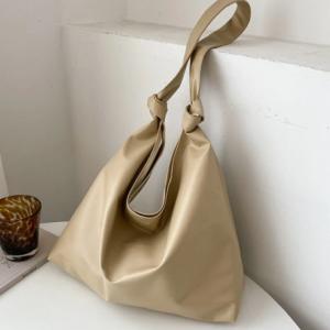 Simple Large Capacity Soft Fabric Versatile Knotted Adjustable Shoulder Strap Tote discountshub