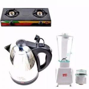 Sonik 3 In 1 - Table Top Gas Cooker-electric Jug Kettle & Blender Home Bundle discountshub