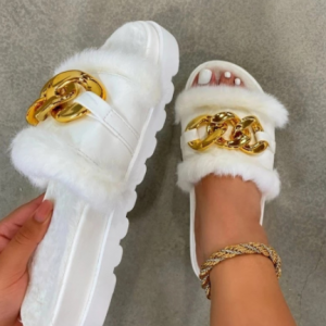 Summer Plush Slippers Fashion Open Toe Solid Color Women's Sandals Metal Chain Outdoor Casual Women's Shoes Plus Size discountshub