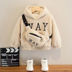 VFOCHI Boy Girl Sweatshirts with Bag Winter Wool Thick Children Hooded Long Sleeves Sweatshirt Unisex Warm Boy Girls Sweatshirts discountshub