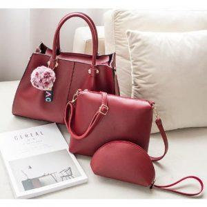 Women's Handbag - 3 In 1 - Red discountshub