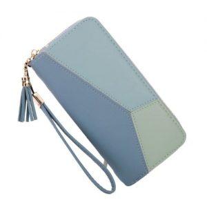 Women's Long Section Zipper Wallet Wristlet - Blue discountshub