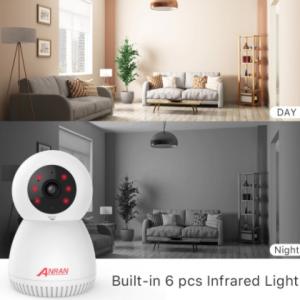ANRAN Surveillance Camera 3MP Automatic Tracking IP Camera Home Security Camera Indoor Camera WIFI Baby Monitor Audio Video APP discountshub