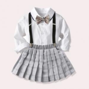 Baby Girl Clothes School Style Uniform Suit New British Short Skirt 3~8 Years Children Short Sleeve + Pleated Skirt Suit discountshub
