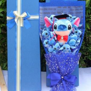 Cartoon Lilo Stitch Doraemon Plush Doll Toys Cute Lilo Stich Anime Plush Bouquet with Fake Flower Wedding Party Gift No Box discountshub