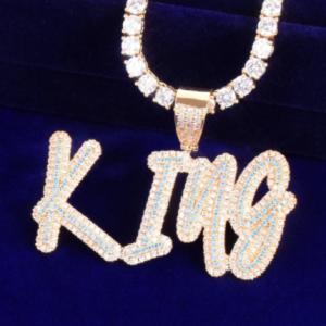 Custom Name Blue ZirconLetters Pendant Necklaces Solid Back For Men Women Gold Color Plated Hip Hop Rock Jewelry discountshub