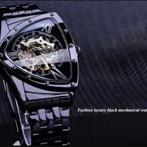 DUNCOUGAR Triangle Skeleton Black Automatic Watch Stainless Steel Men Business Sport Irregular Mechanical Wristwatch discountshub