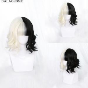 Dalaohome Cruella Cosplay Wig Short Bob Cos Halloween Party Woman Wigs Hair Lolita Heat Resistant Synthetic Half Black White Wig discountshub
