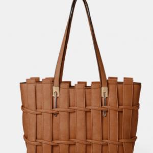 Faux Leather Woven Multi-pocket Crossbody Bag Large Capacity Handbag Tote discountshub
