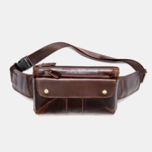 Genuine Leather Color Matching Waterproof Wear-resisting Belt Bag discountshub
