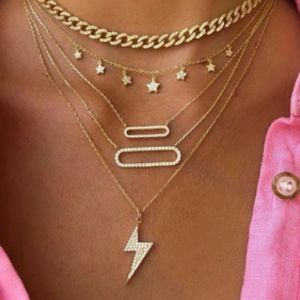 Geometric Oval Multi-layer Necklace Metal Pentagram Tassel Pendant Necklace discountshub
