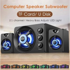 LED Light 2.1 Desktop Computer Heavy Speaker Subwoofer Home Combination Bluetooth Speaker PC Laptop Cellphone USB Power Supply discountshub