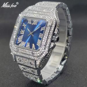 MISSFOX Square Watch Ice Out Diamond Hip Hop Sunburst Dial Waterproof Quartz Watches Droshipping New Reloj Hombre Marca de Lujo discountshub