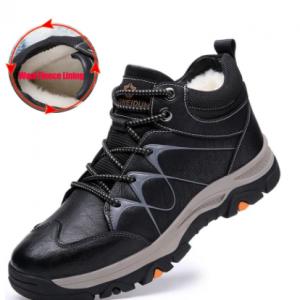 Men Cow Leather Waterproof Outdoor Wool Fleece Lining Hiking Boots discountshub