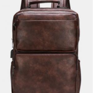 Men Retro Faux Leather Waterproof Wear-resisting Large Capacity Backpack discountshub