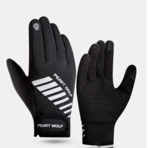 Men Spandex Polar Fleece Plus Velvet Letter Striped Reflective Strip Full-finger Warmth Outdoor Waterproof Non-slip Gloves discountshub