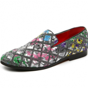 Men Stylish Floral Sequins Printing Casual Loafers Shoes discountshub