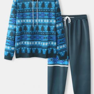 Mens Allover Christmas Tree Snowflake Print Drawstring Hoodies Two Pieces Outfits discountshub