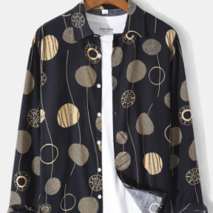 Mens Allover Geometric Print Button Front Cotton Casual Long Sleeve Shirts discountshub
