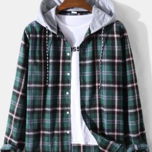 Mens Check Plaid Preppy Long Sleeve Contrast Drawstring Hooded Shirts discountshub