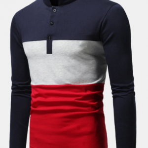 Mens Color Block Patchwork Stand Collar Casual Long Sleeve Golf Shirts discountshub