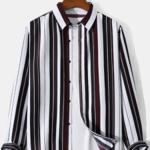 Mens Contrast Vertical Striped Lapel Button Front Casual Long Sleeve Shirts discountshub