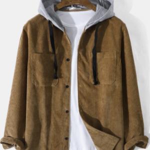 Mens Corduroy Double Pocket Long Sleeve Casual Drawstring Hooded Shirts discountshub