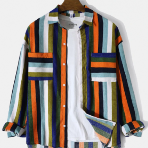 Mens Corduroy Multicolor Striped Button Front Casual Long Sleeve Shirts discountshub