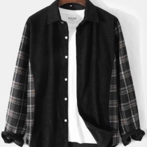 Mens Corduroy Plaid Patchwork Lapel Button Up Casual Long Sleeve Shirts discountshub