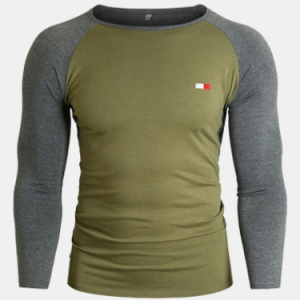 Mens Embroidered Detail Crew Neck Patchwork Raglan Sleeve Casual T-Shirts discountshub