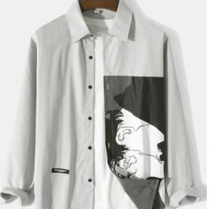 Mens Figure Pattern Print Applique Button Up Casual Long Sleeve Shirts discountshub