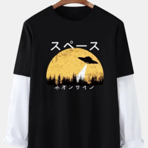 Mens Japanese Character UFO Print Contrast Cotton 2 In 1 Long Sleeve T-Shirts discountshub