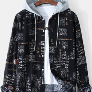 Mens Mixed Print Button Up Long Sleeve Drawstring Hooded Shirts discountshub