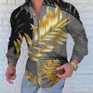Men's New Style Casual Long Sleeve Shirts Fashion Botany 3D Printed Turn-Down Collar Slim Fit Gothic Party Single-Breasted Shirt discountshub