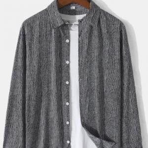Mens Pinstripe Lapel Collar Button Up Cotton Casual Long Sleeve Shirts discountshub