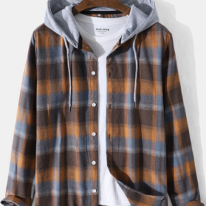 Mens Plaid Button Front Casual Long Sleeve Contrast Hooded Shirts discountshub
