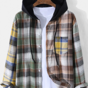 Mens Plaid Button Up Casual Long Sleeve Contrast Hooded Shirts discountshub