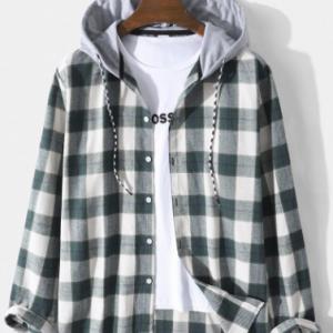 Mens Plaid Button Up Cotton Preppy Drawstring Hooded Shirts discountshub