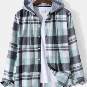 Mens Plaid Button Up Long Sleeve Casual Drawstring Hooded Shirts discountshub