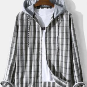 Mens Plaid Button Up Long Sleeve Preppy Drawstring Hooded Shirts discountshub