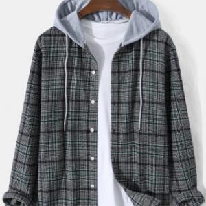 Mens Plaid Button Up Street Long Sleeve Drawstring Hooded Shirts discountshub
