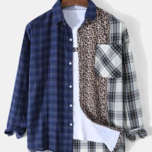 Mens Plaid Leopard Patchwork High Low Hem Street Long Sleeve Shirts discountshub