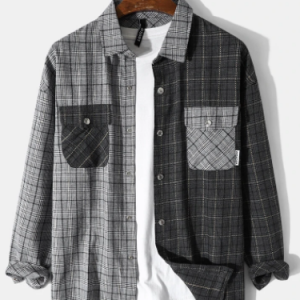 Mens Plaid Patchwork Snap Button Double Pocket Casual Long Sleeve Shirts discountshub