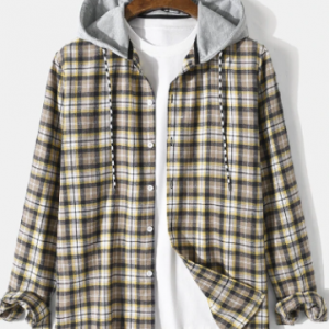 Mens Preppy Plaid Button Up Long Sleeve Contrast Drawstring Hooded Shirts discountshub